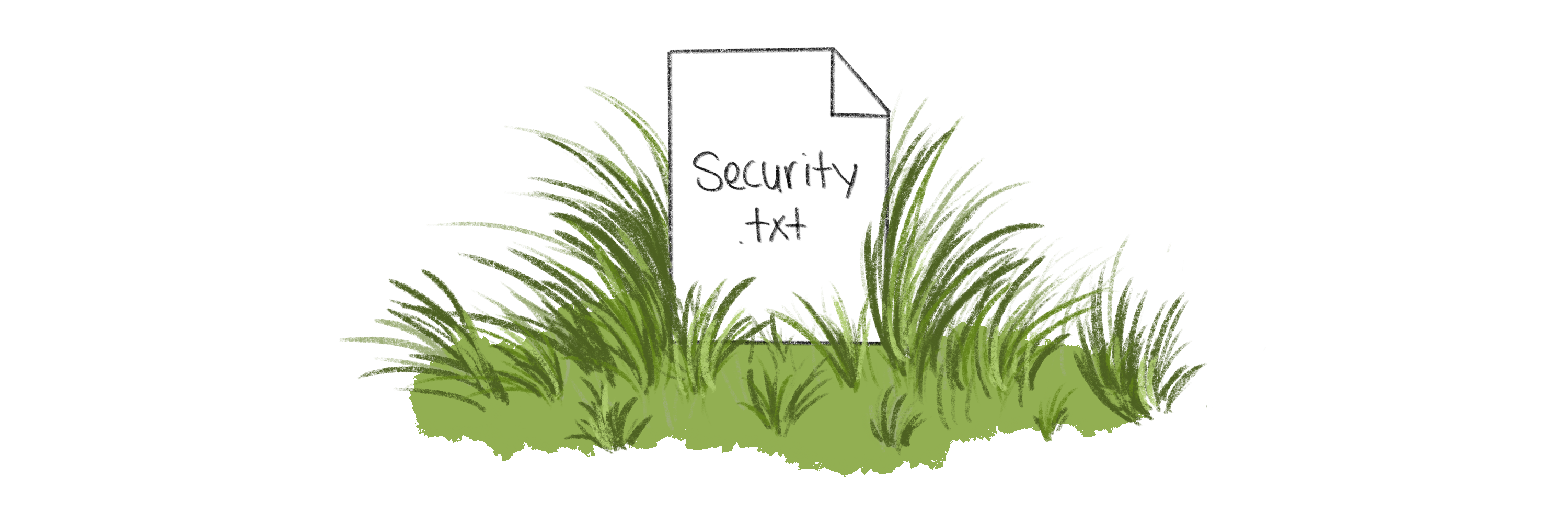 """A file icon labeled """"security.txt"""" with grass around it"""